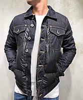 Чоловіча джинсова куртка утеплена на синтепоні чорна   Стильна тепла джинсовці осінь весна, фото 1
