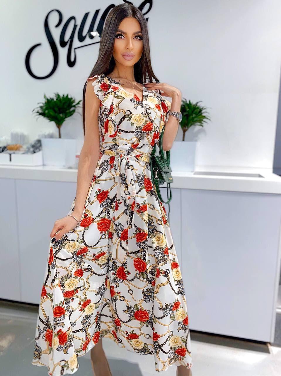 Сукня літній вільний з декольте квітковий принт