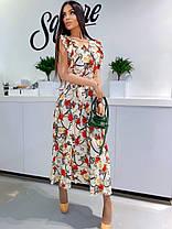 Сукня літній вільний з декольте квітковий принт, фото 3
