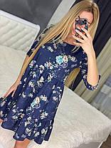 Стильне повітряне плаття до коліна висока талія з рукавом у квітку або горошок, фото 3