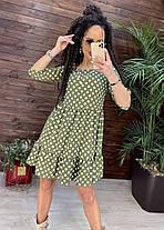 Стильне повітряне плаття до коліна висока талія з рукавом у квітку або горошок, фото 2