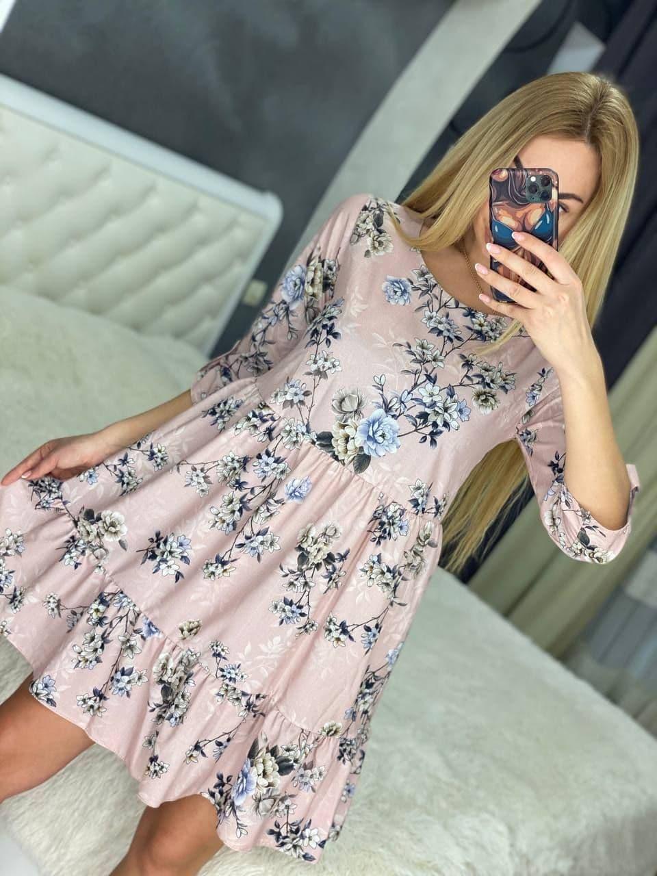 Стильне повітряне плаття до коліна висока талія з рукавом у квітку або горошок