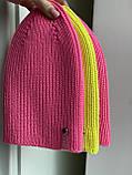 Демисезонная яркая детская вязаная неоновая шапочка из 100% мериноса для девочки и мальчика ручной работы., фото 8