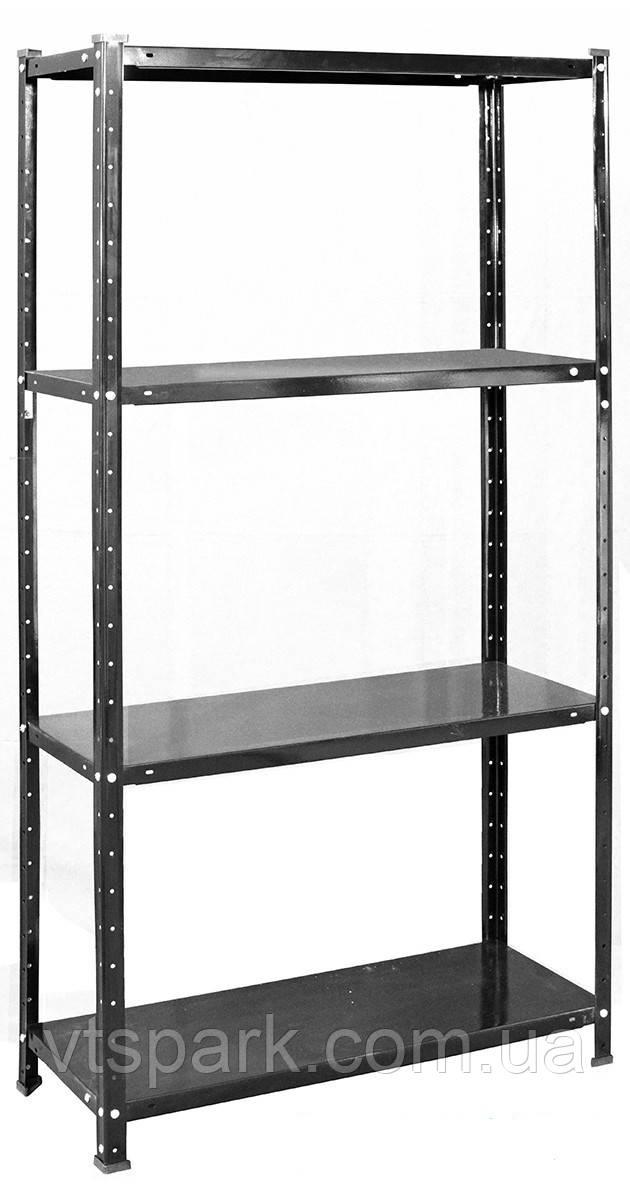 Стеллаж РЕК-3, черный 1500х750х300мм, 35кг, 4 полки, металлический, полочный для ванной, дома, офиса