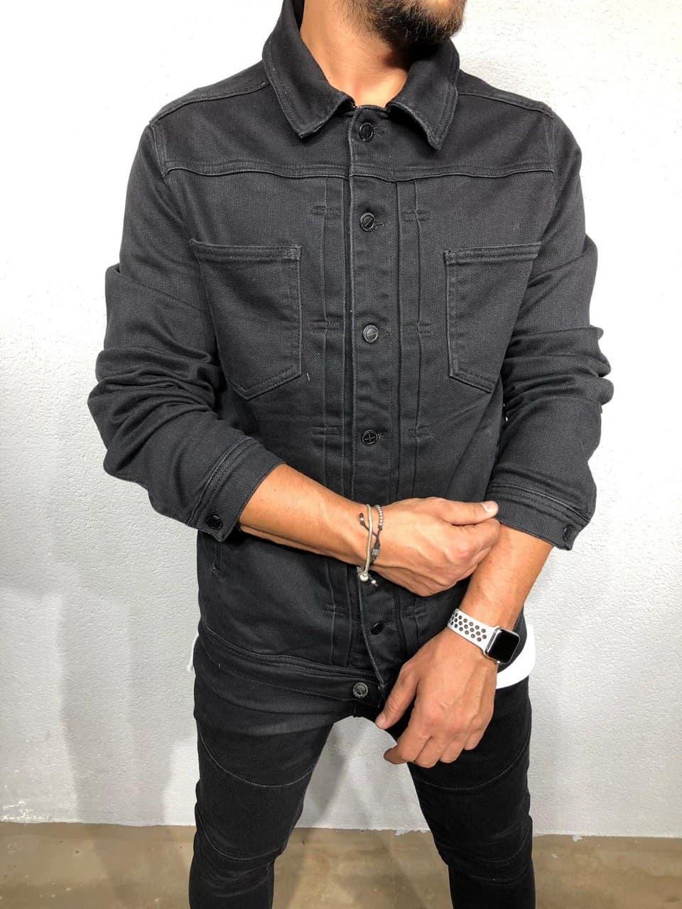 Молодіжний чоловічий піджак джинсовий джинсовці чорна | Стильна легка куртка сорочка літня