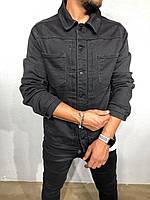 Молодіжний чоловічий піджак джинсовий джинсовці чорна | Стильна легка куртка сорочка літня, фото 1