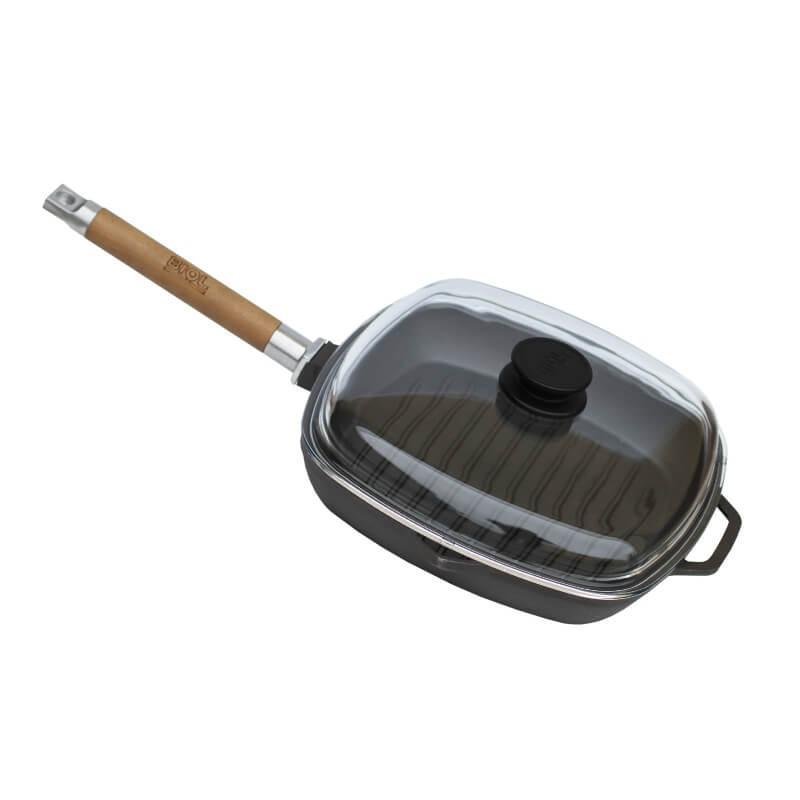 Чугунная сковорода гриль с крышкой Биол квадратная 1028С 28х28см