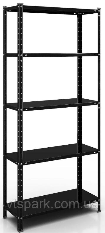 Стеллаж РЕК-4, черный 1700х750х300мм, 35кг, 5 полок, металлический, полочный для офиса, дома, ванной