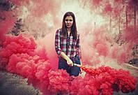 Ручний червоний кольоровий дим  середньої насиченості(дим12), довга рукоятка, 60 секунд