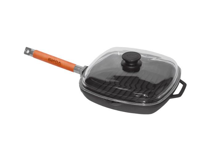 Чугунная сковорода гриль со стеклянной крышкой Биол квадратная 1026С 26 см