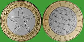 Словения 3 евро 2008 г. Председательство в ЕС. UNC