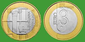 Словения 3 евро 2010 г. Любляна-всемирная столица книги, UNC