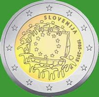 Словения 2 евро 2015 г. 30 лет флагу Европы . UNC.