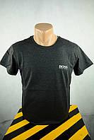 Футболка брендовая мужская темно-серая BOSS