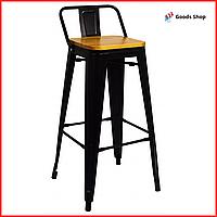 Барный табурет высокий для барной стойки Металлический барный стул стильный со спинкой Bonro B-234BW черный
