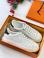Женские белые кроссовки Луи Виттон Louis Vuitton Time out sneakers white кожа кожаные Луи Витон сникерсы