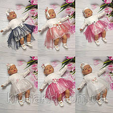 Набор одежды для новорожденного на выписку из роддома для девочки - платье, боди, топики, повязка (Турция), фото 2