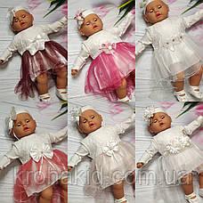 Набор одежды для новорожденного на выписку из роддома для девочки - платье, боди, топики, повязка (Турция), фото 3