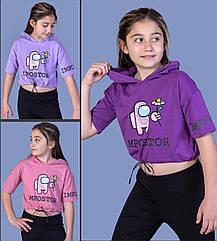 Детская укороченная футболка с капюшоном  (девочка), 6-8-10-12 лет , Impostor