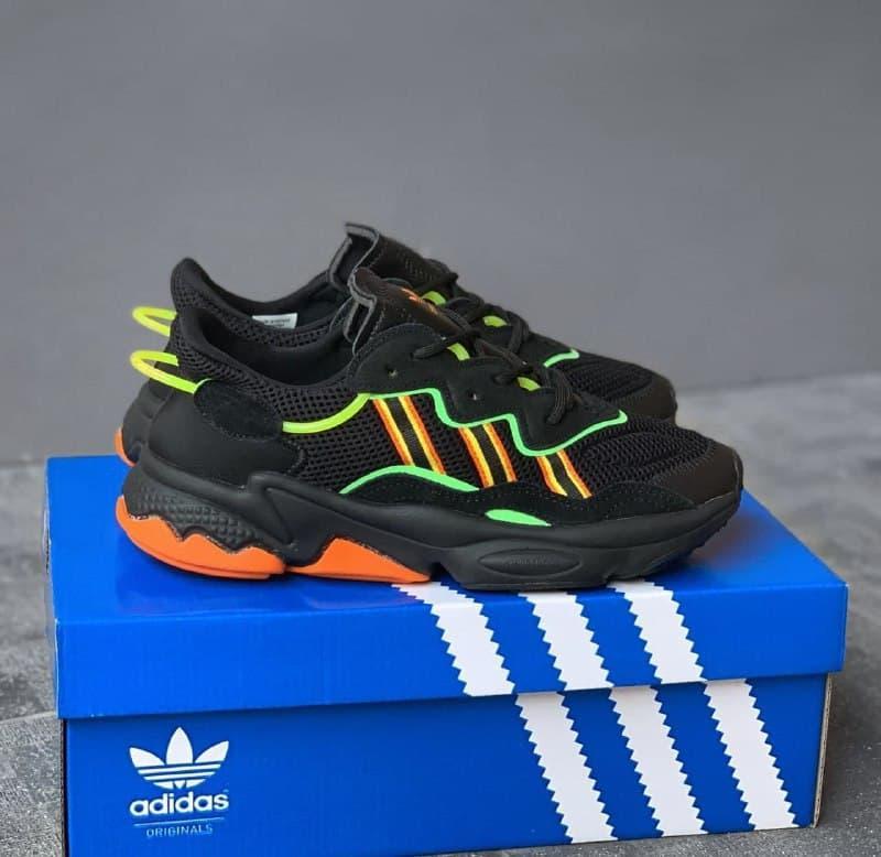 Мужские кроссовки Adidas Ozweego Black Orange Green