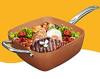 Медная сковорода AMPOVAR Umique с фритюром и пароваркой, антипригарная 24 см с крышкой