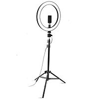 Кольцевая светодиодная LED лампа RING на штативе высота 2м, диаметр лампы 26см, для блогера, черный