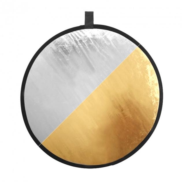 2 в 1 Двухсторонний золотистый и серебристый рефлектор 80 см
