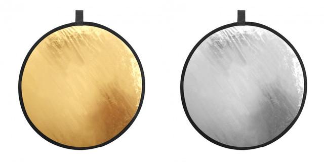 2 в 1 Двухсторонний золотистый и серебристый рефлектор 80 см золото и серебро