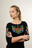 Молодіжна вишита футболка із рукавом 3/4 чорного кольору із квітковим орнаментом «Волошкове поле» , фото 1