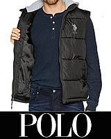 Жилет безрукавка POLO р.L с капюшоном Original унисекс, мужской, женский, подростковый