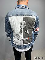 Джинсовий молодіжний чоловічий піджак оригінальний з принтом синя   Модна потерта куртка оверсайз джинсовці