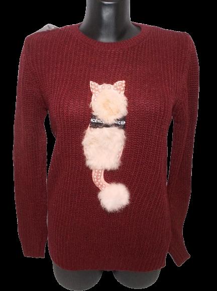 Свитер 3D с меховой кошкой Турция  размер 44-50