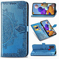 Чехол Vintage для Samsung Galaxy A21s 2020 / A217F книжка кожа PU с визитницей голубой