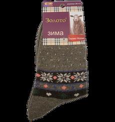 Шкарпетки термо ангора орнамент Золото З-522 36-41 коричневі