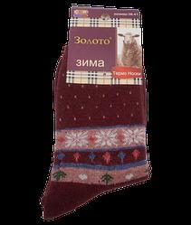 Шкарпетки термо ангора орнамент Золото З-522 36-41 бордові