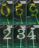 """Топпер для торта 90801-1(2) """"Цифра 0.1.2.3.4.5.6.8.9"""", висота фігурки 11см золото - срібло mix уп20"""