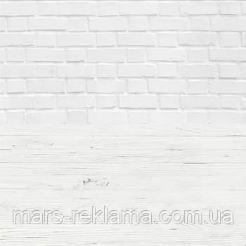 Виниловый фон (фотофон) студийный для предметной съемки. Белый кирпич и белая штукатурка