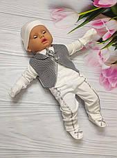 """Комплект для новонародженого на виписку / хрещення : конверт і набір одягу """"Джентельмен"""" - ВЕСНА / ЛІТО, фото 3"""