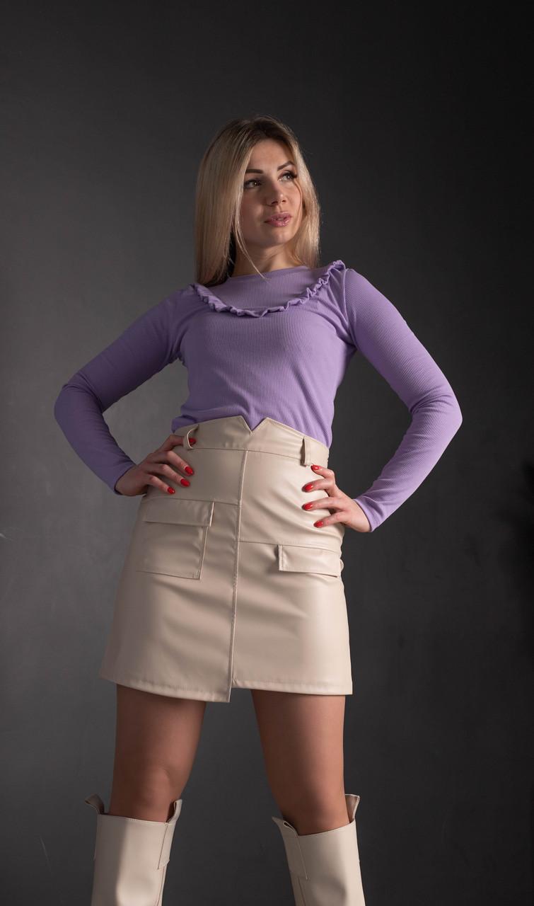 """Короткая юбка """" 347"""", молочная. Размеры 42, 44, 46, 48."""