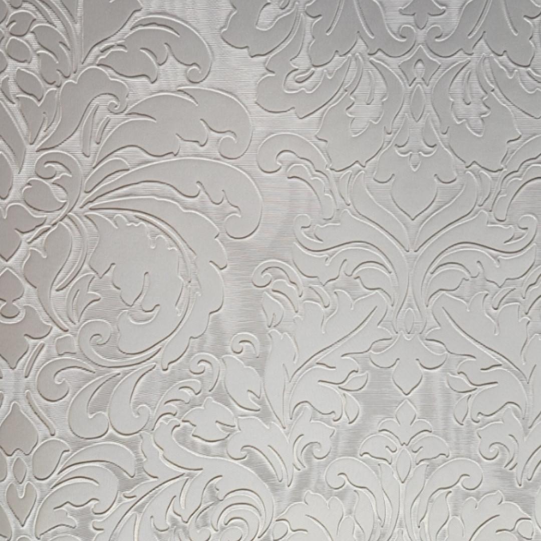 Шпалери вінілові на паперовій основі Sirpi Italian Silk 7 вензелі дамаски структурні сріблясті білі
