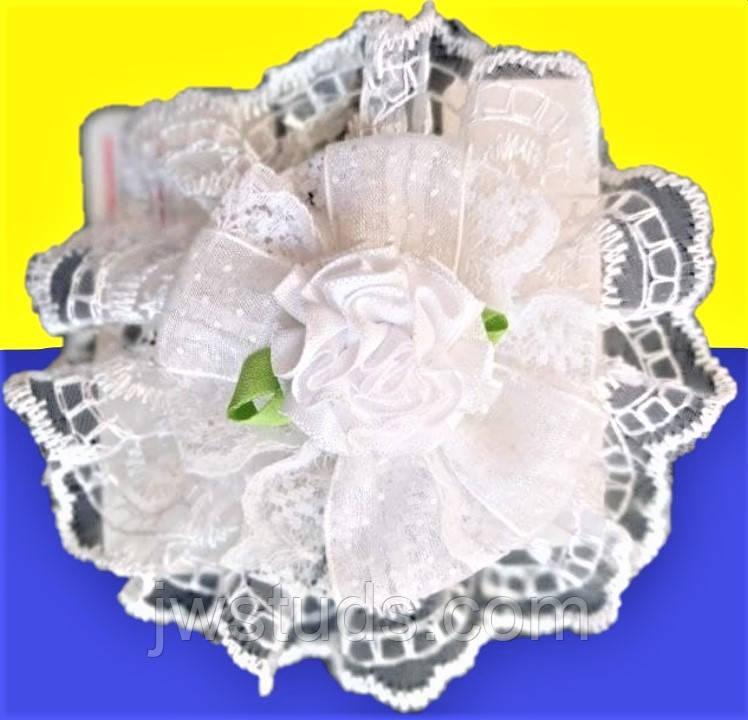 Бант на резинке белый