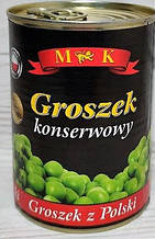 Горошек зеленый консервированный 400г Польша M&K