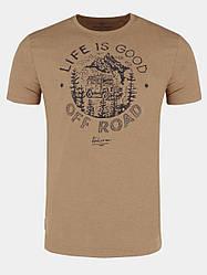 Мужская бежевая хлопковая футболка с принтом Volcano T-Off