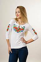Вишита футболка для дівчини із рукавом 3/4 білого кольору із червоним квітковим орнаментом «Волошкове поле» , фото 1