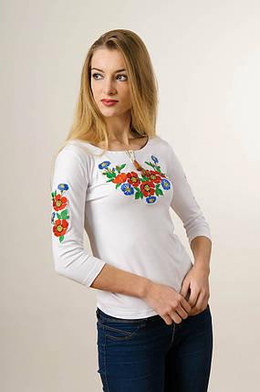 Вышитая футболка для девушки с рукавом 3/4 белого цвета с красным цветочным орнаментом «Волошкове поле», фото 2