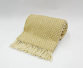 Плед шерстяной Vladi - Рогожка бело-бежевый 170*210 двуспальный