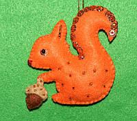 Красивая яркая игрушка из фетра handmade Белочка  2522, фото 1
