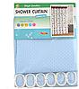 Шторка для ванної текстиль з кільцями Піку 180х180см блакитна тканинна SD, фото 2
