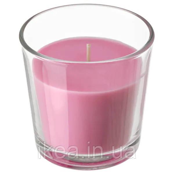 Ароматична свічка в склянці декоративна червона IKEA SINNILIG 7,5 см х 25 годин горіння СІНЛІГ ІКЕА