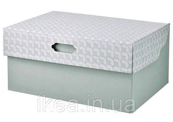 Коробка с крышкой для хранения вещей серо-зелёная 33x23x15 см IKEA HYVENS ящик органайзер ИКЕА